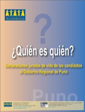 Declaraciones juradas de vida de los candidatos al ... - Transparencia