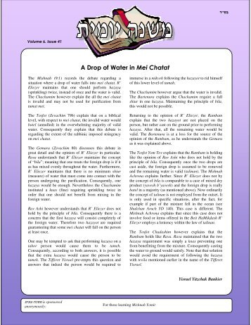 A Drop of W ater in M ei Chatat - The Mishnah Yomit Website
