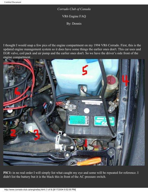 Corrado Club of Canada VR6 Engine FAQ By: Dennis I thought I