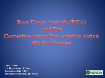 Root Cause Analysis - Lloyd Nelson - ASQ Long Island Section