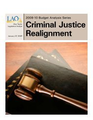 Criminal Justice Realignment - California Legislative Analyst's Office