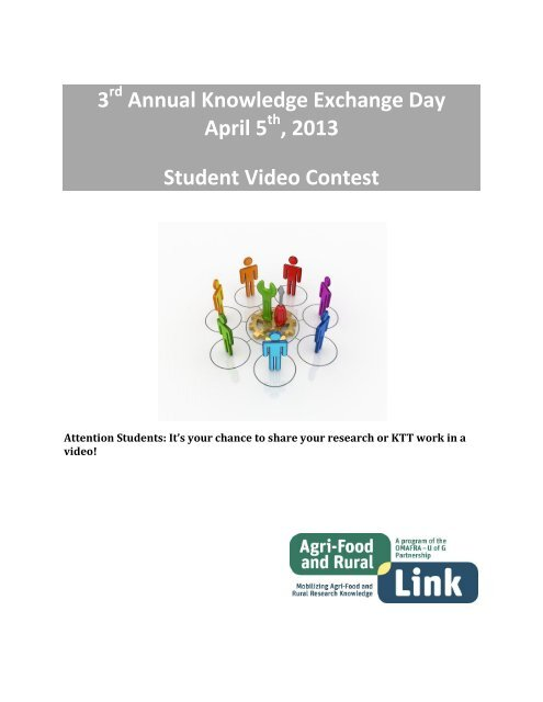 3 Annual Knowledge Exchange Day April 5 , 2013 Student Video ...