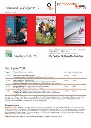 Terminplan 2012 Preise und Leistungen 2012