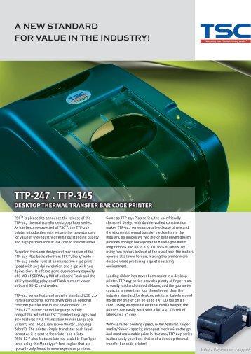 ttp-247 . ttp-345 desktop thermal transfer bar code printer