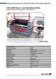 Gebrauchtmaschine VICCAM 1208 Tisch 1200 x ... - DREATEC GmbH