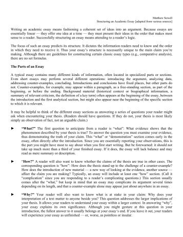 Science Development Essay Matthew Sewell Structuring An Academic Essay Adapted From English Essay On Terrorism also Reflective Essay Thesis Statement Examples Essays General Structure Introduction This Should Be  Of The  Thesis For Argumentative Essay Examples