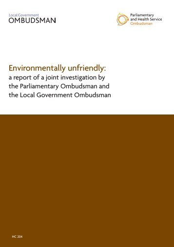 Environmentally unfriendly: - the Parliamentary and Health Service ...