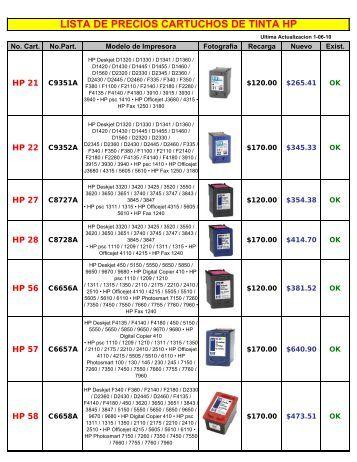 lista de precios cartuchos de tinta hp - TINTA  Y TONER DE MORELOS