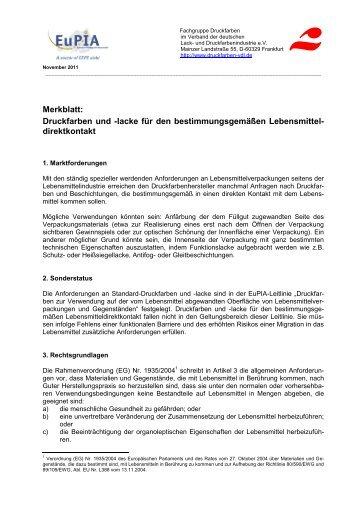 Merkblatt: Druckfarben und -lacke für den ... - Eupia