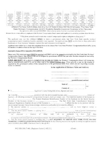 Workers Compensation Affidavit - Town of Northumberland