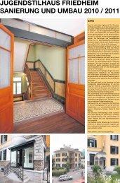 jugendstilhaus friedheim sanierung und umbau 2010 ... - Theo Fischer