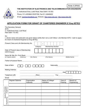 APPLICATION FORM FOR GRANT OF CHARTERED ... - IETE