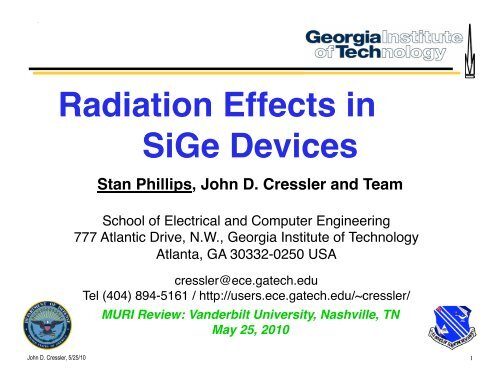 radiation effects in sige devices - Institute for Space and Defense ...