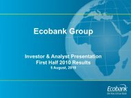 Group Investor & Analyst Presentation First Half 2010 ... - Ecobank