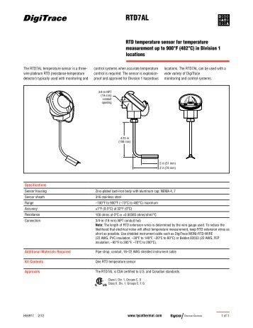 RTD7AL - Tyco Thermal Controls