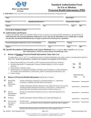 standard authorization form