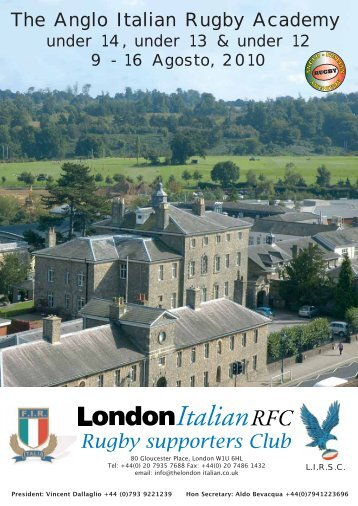 (0)20 7935 8337 Fax 0044 (0) - THE ANGLO ITALIAN RUGBY ...