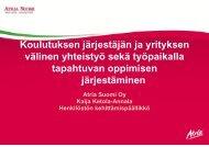 Koulutuksen järjestäjän ja yrityksen välinen yhteistyö sekä ...