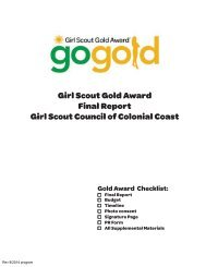 2012-2013 Girl Scout Gold Award Final Report - Girl Scouts of the ...
