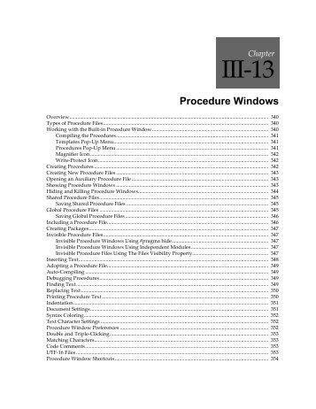 Procedure Windows - Wavemetrics.net