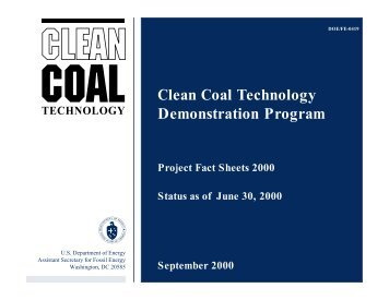 Clean Coal Technology Demonstration Program ... - P2 InfoHouse