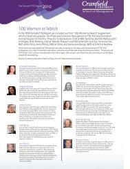 100 Women to Watch - Cranfield School of Management