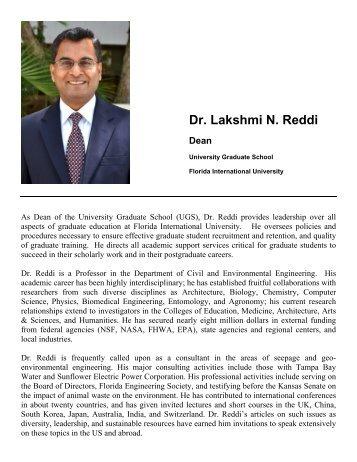 Dr. Lakshmi N. Reddi Dean - University Graduate School - Florida ...