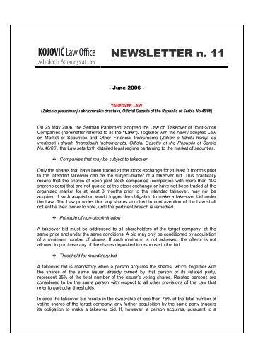 Newsletter_11-2006 - BDK Advokati/Attorneys at Law