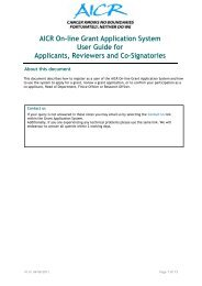 AICR On-line Grant Application System User Guide for Applicants ...