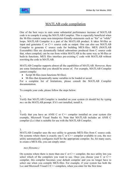 Matlab Code Compilation (pdf) - SIPL