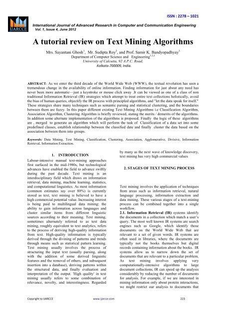 6-A tutorial review on Text Mining Algorithms pdf - Ijarcce com