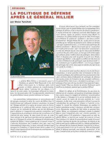 la politique de défense après le général hillier - Revue militaire ...
