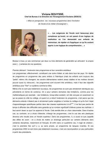 Viviane BOUYSSE, - Centre académique de ressources sur la ...