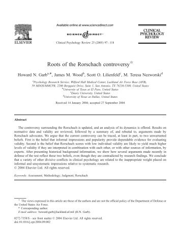 Roots of the Rorschach controversy - DigitalCommons@UTEP