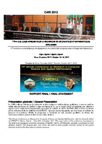CARI'2012 Report - Colloque africain sur la recherche en informatique