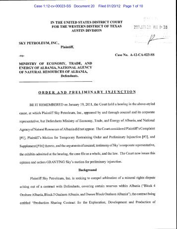 Order and Preliminary Injunction (United States District Court - ita