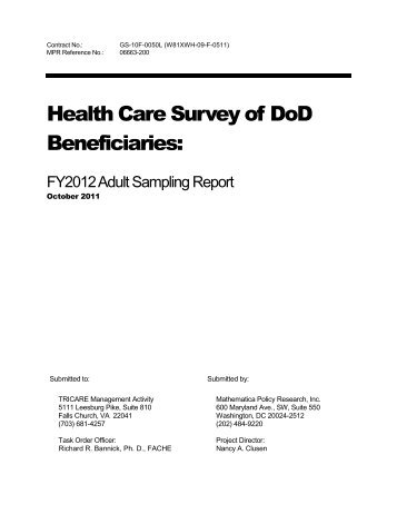 2012 Adult Sampling Design Report - Tricare
