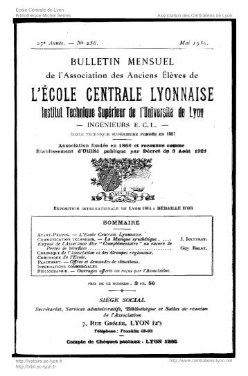 Revue Technica, année 1930, numéro 256 - Histoire de l'École ...
