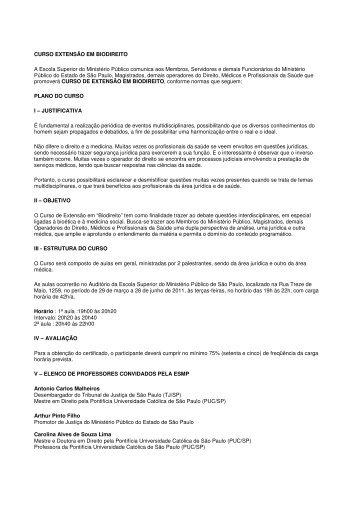 CURSO EXTENSÃO EM BIODIREITO A Escola Superior do ... - SPSP
