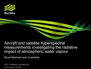 Aircraft and satellite hyperspectral measurements investigating the ...