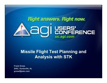 Missile Flight Test Planning and Analysis with STK - AGI