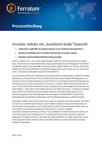 """Ferratum: Anleihe mit """"Investment Grade"""" bewertet - Ferratum Group"""