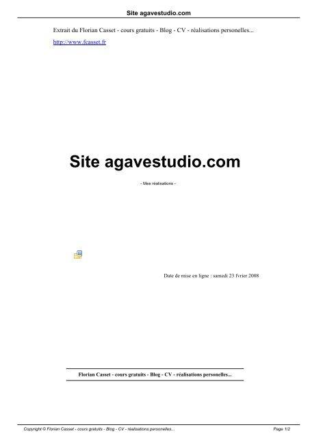 Site agavestudio.com - Florian Casset - cours gratuits - Blog