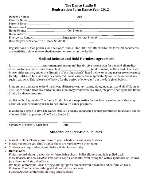 Medical Release and Hold Harmless Agreement - The Dance Studio B