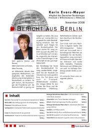 Bericht aus Berlin November 2008 - Karin Evers-Meyer MdB