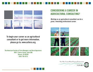 Want a career in Agricultural Consulting? - ASFMRA