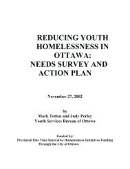reducing youth homelessness in ottawa: needs survey and action plan
