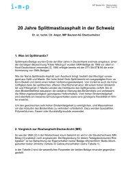 20 Jahre Splittmastixasphalt in der Schweiz - IMP Bautest AG