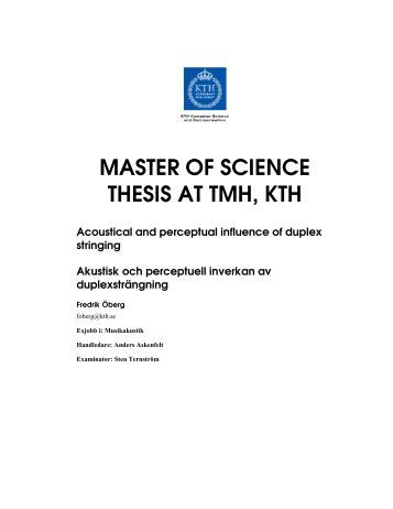 Master thesis in computer science kth