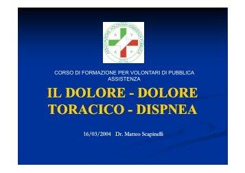 IL DOLORE IL DOLORE - DOLORE TORACICO DISPNEA ...